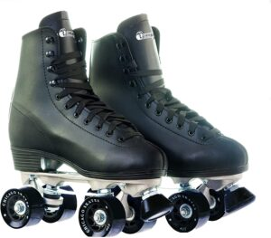 Chicago Men's Premium Leather Lined Rink Roller Skate - Classic Black Quad Skates